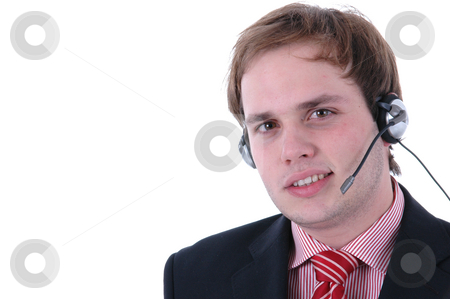 Call center stock photo, Young man of a call center in a white background by Rui Vale de Sousa
