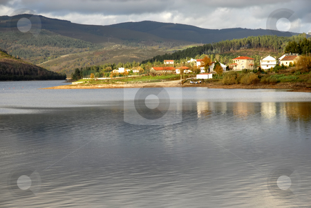Lake stock photo, Small village at the lake, in portugal by Rui Vale de Sousa