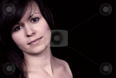 Beautiful stock photo, Beautiful young woman portrait, isolated on black by Rui Vale de Sousa