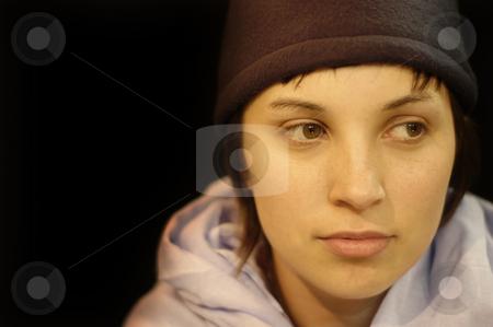 Portrait stock photo, Young pretty woman portrait in black background by Rui Vale de Sousa