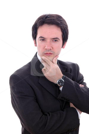 Thoughts stock photo, Portrait of a young businessman isolated on white by Rui Vale de Sousa