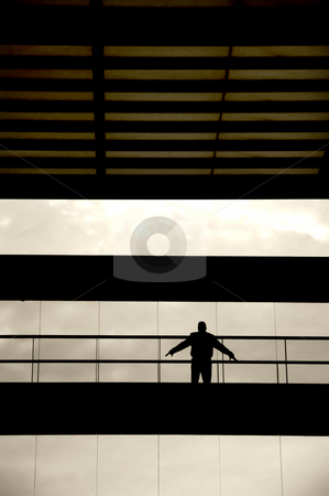Silhouette stock photo, Man with arms wide open by Rui Vale de Sousa