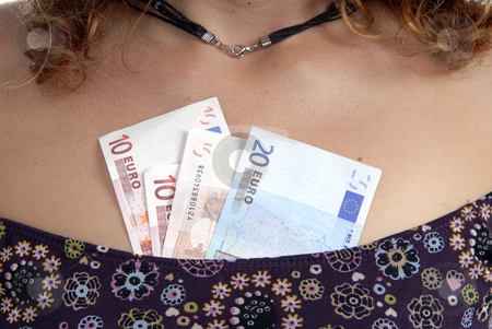 Money stock photo, Casual young woman with money in the chest by Rui Vale de Sousa
