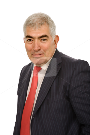 Mature stock photo, Mature business man portrait in white background by Rui Vale de Sousa
