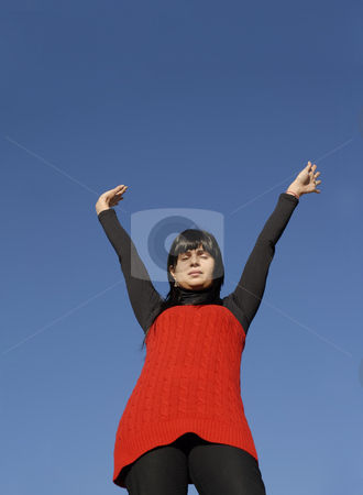 Happy stock photo, Young woman at the sun with the sky as background by Rui Vale de Sousa