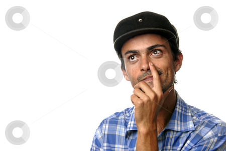 Thoughts stock photo, Casual man portrait with hat in white background by Rui Vale de Sousa