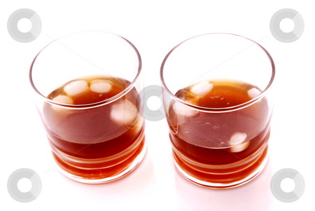 Ice tea stock photo, Two tea with ice or soda over white background by Rui Vale de Sousa