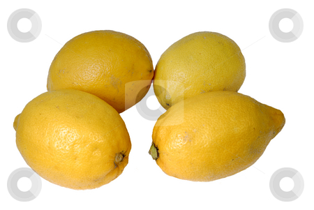 Lemon stock photo, Four yellow lemons on a white background by Rui Vale de Sousa