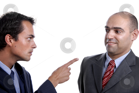 Pointing stock photo, Two young business men portrait on white. by Rui Vale de Sousa