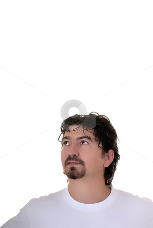 Wondering stock photo, Young man portrait in a white background by Rui Vale de Sousa