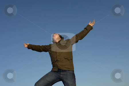 Wide open stock photo, Young man with arms wide open and the sky by Rui Vale de Sousa