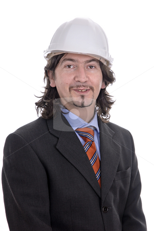 Engineer stock photo, An engineer white hat, isolated on white by Rui Vale de Sousa