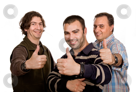 Thumbs up stock photo, Three casual man isolated on white background by Rui Vale de Sousa