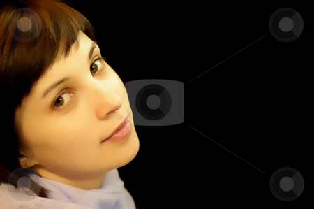 Woman stock photo, Young casual woman portrait in a dark baclground by Rui Vale de Sousa