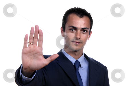 Stop stock photo, Business man making stop. Focus on the head by Rui Vale de Sousa