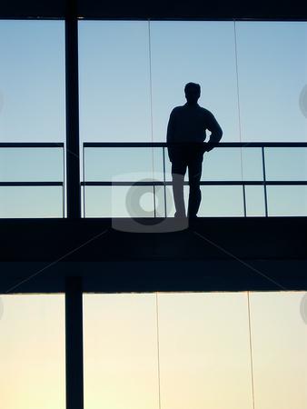 Sillouette stock photo, Man on the building by Rui Vale de Sousa