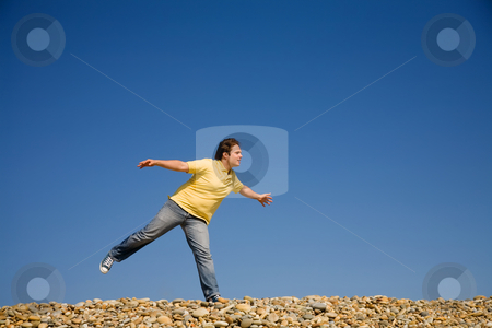 Happy stock photo, Man with arms wide open at the beach by Rui Vale de Sousa