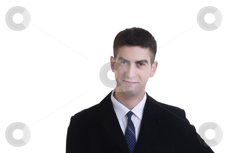 Portrait stock photo, Happy young business man alone in white background by Rui Vale de Sousa