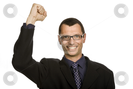Victory stock photo, Successful business man with open arm isolated on white by Rui Vale de Sousa