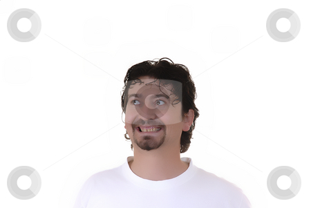 Crazy stock photo, Young casual crazy man in a white background by Rui Vale de Sousa