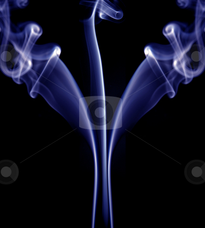 Blue stock photo, Abstract blue smoke in a black background by Rui Vale de Sousa