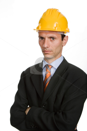 Hardhat stock photo, An engineer with yellow hat, isolated on white by Rui Vale de Sousa