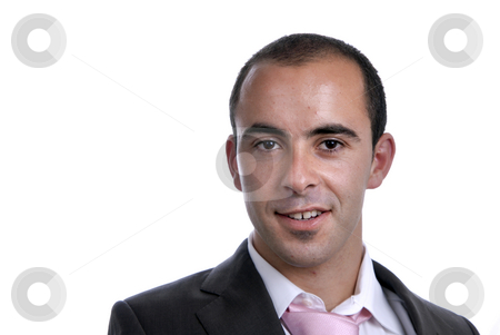 Portrait stock photo, Happy business man portrait on white background by Rui Vale de Sousa