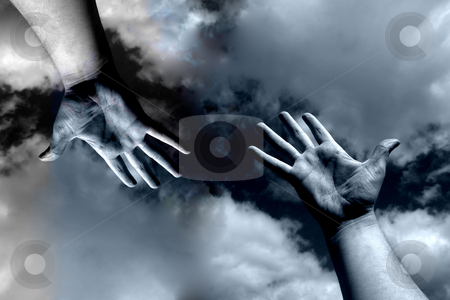 Open hand stock photo, Open arms in the sky and the clouds by Rui Vale de Sousa
