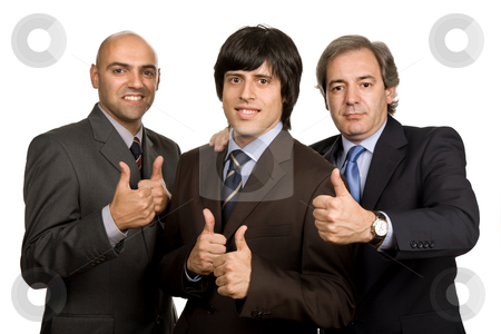 Thumbs up stock photo, Three young business men isolated on white by Rui Vale de Sousa