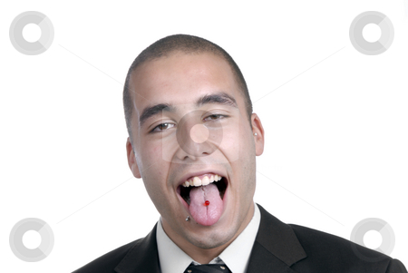 Piercing stock photo, Young business men with piercing, isolated on white by Rui Vale de Sousa