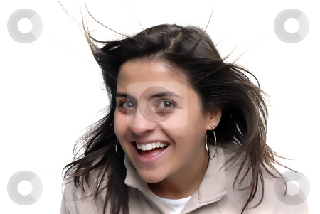 Fun stock photo, Happy young woman portrait with wind in her hair by Rui Vale de Sousa