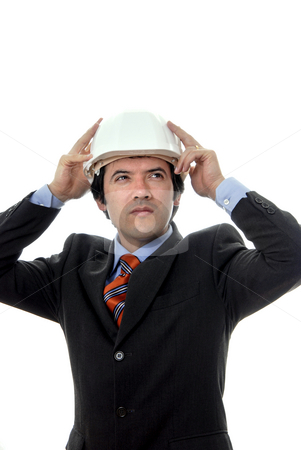 Headache stock photo, An engineer with white hat, isolated on white by Rui Vale de Sousa