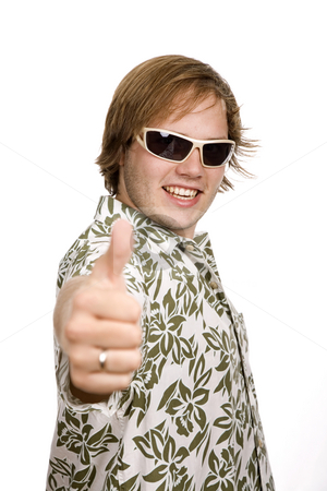 Thumb stock photo, Young casual man going thumbs up isolated on white by Rui Vale de Sousa
