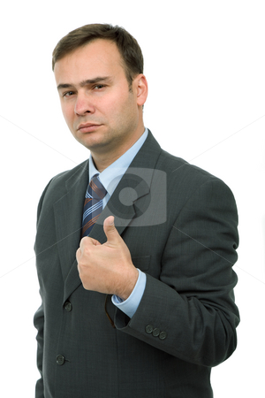 Thumb stock photo, Business man going thumb up, isolated on white by Rui Vale de Sousa