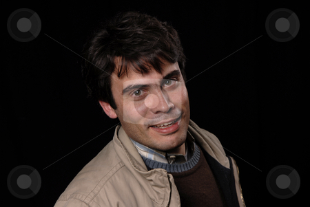 Silly stock photo, Young man portrait isolated on black background by Rui Vale de Sousa