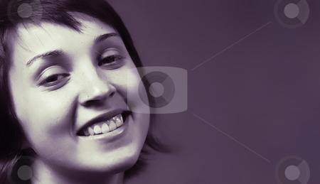 Happy stock photo, Beautiful happy young woman face. blue tone mode by Rui Vale de Sousa