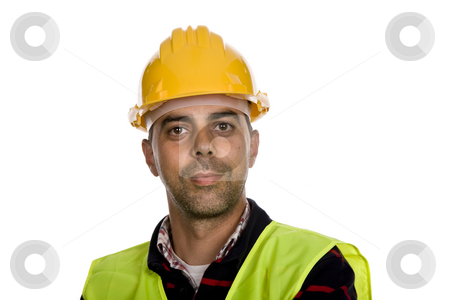 Foreman stock photo, Young worker portrait in a white background by Rui Vale de Sousa