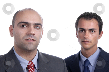 Business men stock photo, Two young business men portrait on white. focus on the left man by Rui Vale de Sousa