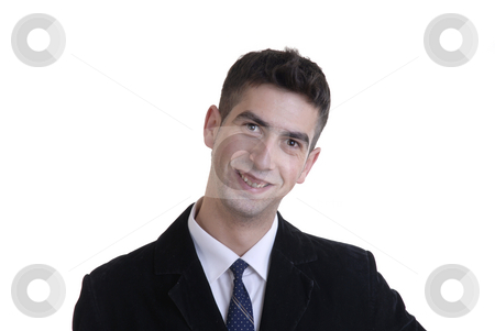 Happy stock photo, Happy young business man alone in white background by Rui Vale de Sousa