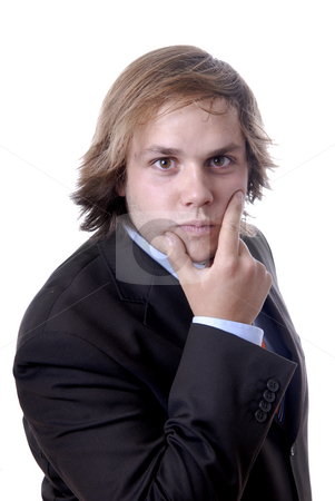 Intrigue stock photo, Young business man thinking in a white background by Rui Vale de Sousa