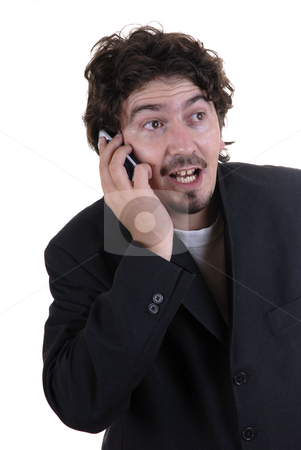 Surprise stock photo, Young man surprised at the cell phone by Rui Vale de Sousa