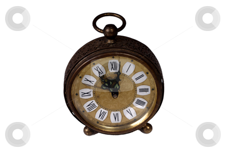 Clock stock photo, Old alarm clock isolated on white background by Rui Vale de Sousa