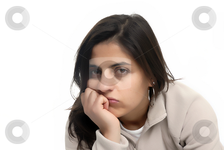 Bored stock photo, Bored young casual woman in a white background by Rui Vale de Sousa