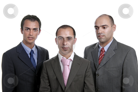 Team stock photo, Three business man isolated on white background, focus on the center man by Rui Vale de Sousa