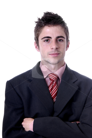 Portrait stock photo, Young business man portrait in white background by Rui Vale de Sousa