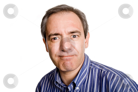 Expression stock photo, Mature casual man portrait, isolated on white by Rui Vale de Sousa