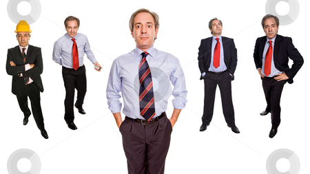 Businessman stock photo, Mature businessman in different positions, isolated on white by Rui Vale de Sousa