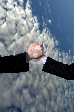 Clouds stock photo, Men shake hands with white clouds and blue sky by Rui Vale de Sousa