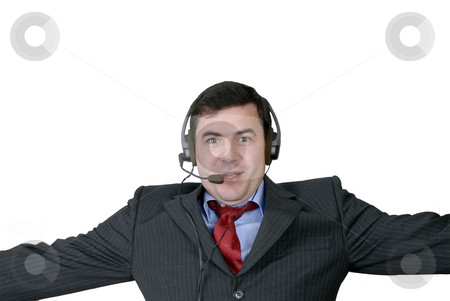 Assistance stock photo, Young call center man talking by the phone by Rui Vale de Sousa