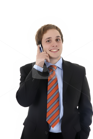 Talking stock photo, Young business man talking with cell phone by Rui Vale de Sousa
